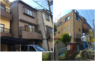 三階建ての家の外観