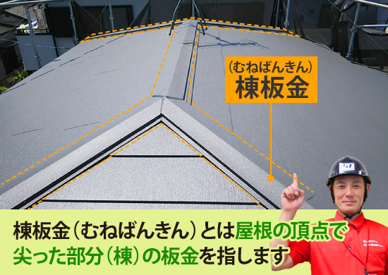 屋根の頂点でとがった部分の板金が棟板金