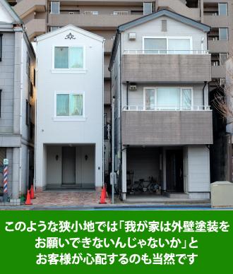 お隣のお宅とのスペースがない住宅密集地