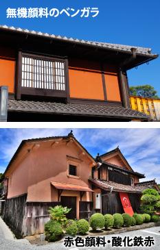 無機塗料のベンガラや赤色顔料で塗装された家