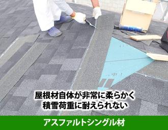 屋根材自体が非常に柔らかく積雪荷重に耐えられないアスファルトシングル材