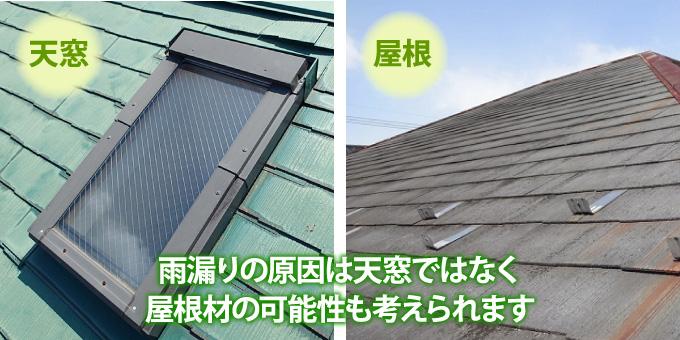 雨漏りの原因は天窓ではなく屋根材の可能性もございます