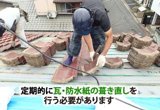 定期的な瓦・防水紙の葺き直し