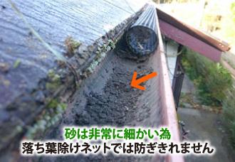 砂は非常の細かいため落ち葉除けネットでは防ぎきれません