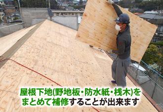 屋根下地(野地板・防水紙・桟木)をまとめて補修