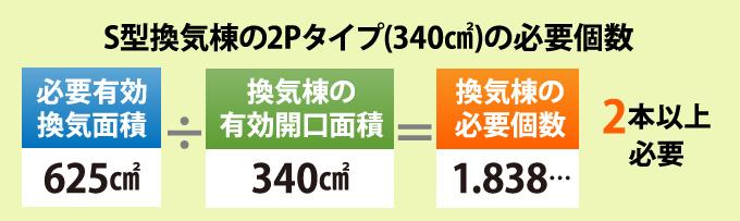 S型換気棟の2Pタイプ(340㎠)の必要個数