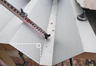 屋根材凹部の三平方の定理実例