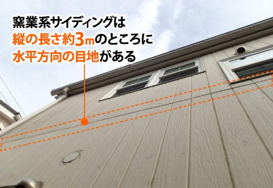 窯業系サイディングは縦の長さ約3mのところに水平方向の目地がある