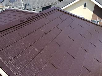 屋根塗装竣工チョコレート色の屋根