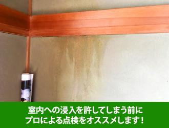 雨水が浸入した壁