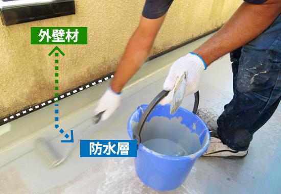 防水層の立ち上がり部分の外壁塗装