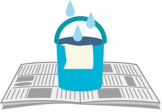 雨漏りは新聞紙やバケツで対処
