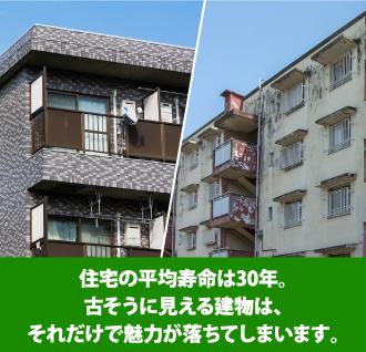 住宅の平均寿命は30年。古そうに見える建物は、それだけで魅力が落ちてしまいます