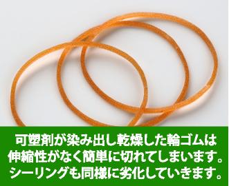 可塑剤が染み出し乾燥した輪ゴムは伸縮性がなく簡単に切れてしまいます。シーリング材も同様に劣化していきます