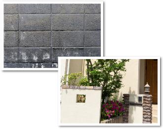 汚れた塀の写真と綺麗に塗り替えた門扉の写真