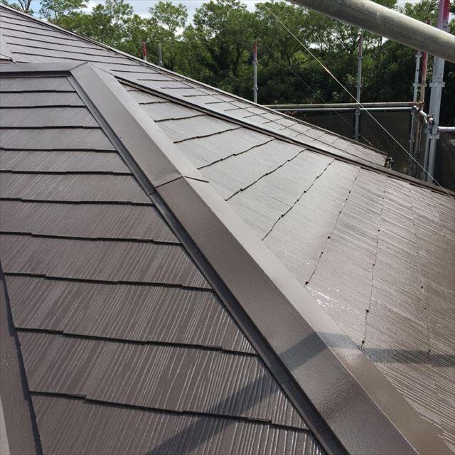 屋根上塗り3回目