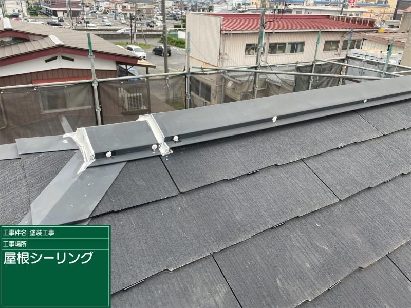 屋根棟コーキング完了20050
