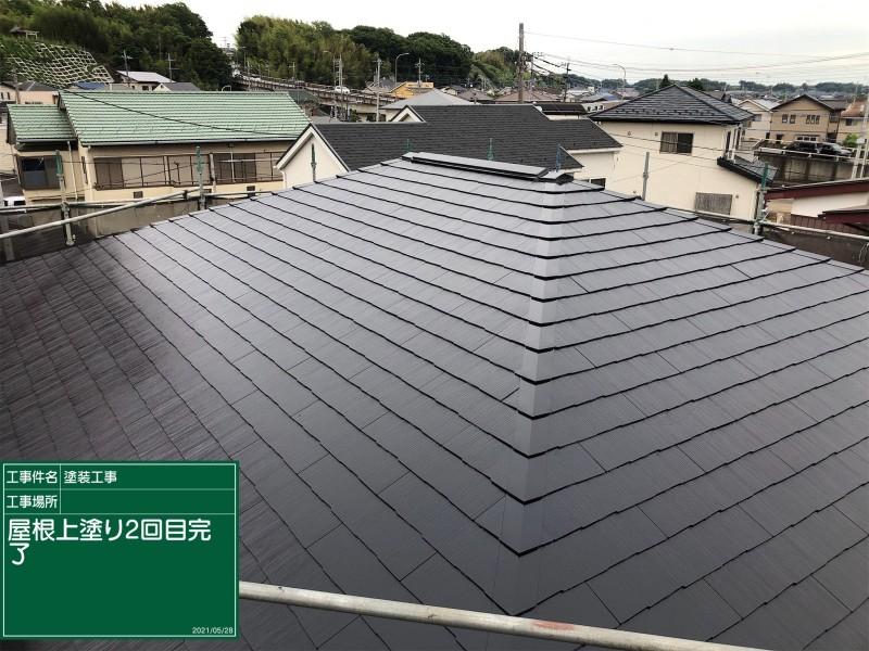 コロニアル屋根上塗り完了20050