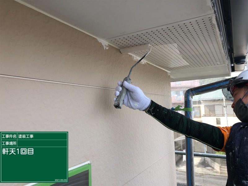 土浦市で塗り替え工事!軒天の腐食対策に防カビ塗装を行っていきました!