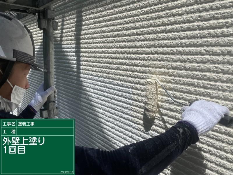 土浦市外壁上塗りアイボリー①20051