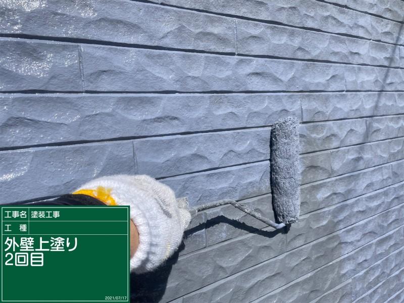 土浦市外壁上塗りブルー②20051