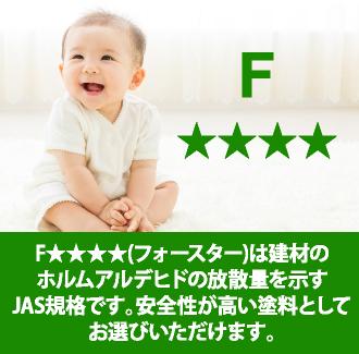 F★★★★(フォースター)は建材のホルムアルデヒドの放散量を示すJIS規格です。安全性が高い塗料としてお選びいただけます。