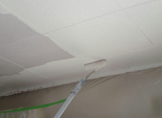 柄の長いローラーで天井を塗布する写真2