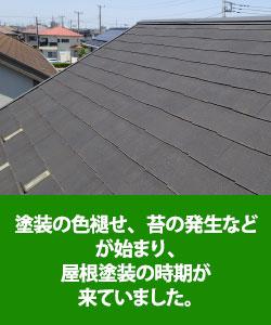 塗装の色あせ、苔の発生などが始まり、屋根塗装の時期が来たため塗装
