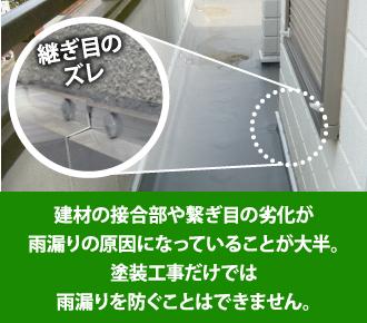 建材の接合部や継ぎ目の劣化が雨漏りの原因になっていることが大半です