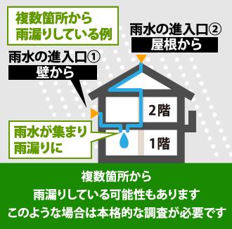 複数個所から雨漏りしている可能性もあります。このような場合は本格的な調査が必要です