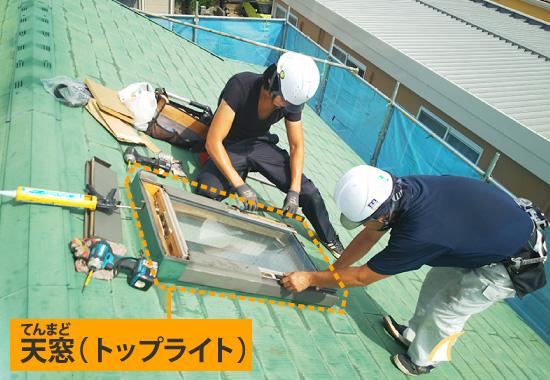天窓工事の様子