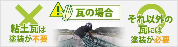 粘土瓦には屋根塗装が不要、それ以外の瓦には屋根塗装が必要