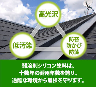 弱溶剤シリコン塗料は、十数年の耐用年数を誇り、過酷な環境から屋根を守ります